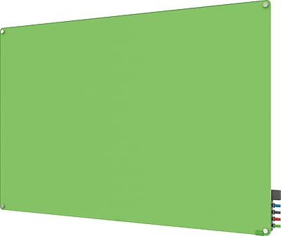 Ghent Manufacturing Harmony Magnetic Glass Dry Erase Board, Frameless, Green, 4' x 3'