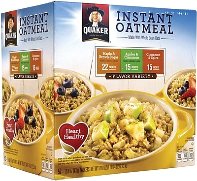 Quaker Instant Oatmeal Flavor Variety Box, 52 Packets (220-00482) 1787241