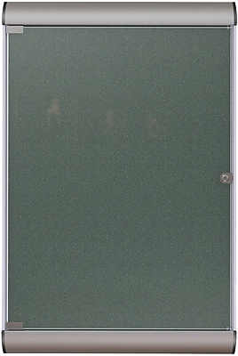 Ghent Manufacturing Silhouette Enclosed Vinyl Bulletin Board, Satin Aluminum Frame/Ebony, 27 3/4