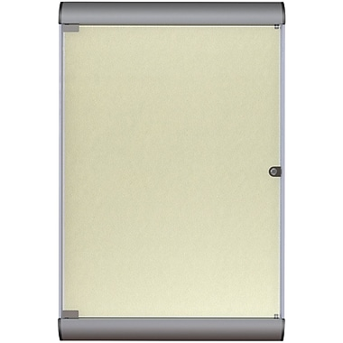 Ghent Silhouette Enclosed Vinyl Bulletin Board, Satin Aluminum Frame/Caramel, 27 3/4