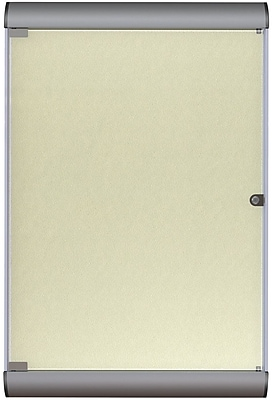 Ghent Manufacturing Silhouette Enclosed Vinyl Bulletin Board, Satin Aluminum Frame/Caramel, 27 3/4