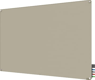 Ghent® Harmony Magnetic Glass Markerboard With Round Corner, Gray, 4' x 8' (HMYRM48GY)