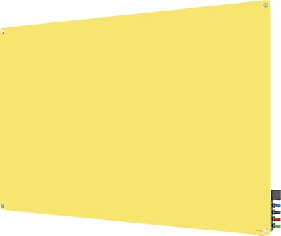 Ghent® Harmony Magnetic Glass Markerboard With Round Corner, Yellow, 4' x 4' (HMYRM44YW)