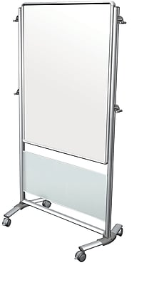 Ghent Nexus Easel, Double-Sided Mobile Porcelain Magnetic Whiteboard, Frosted, 76-1/8
