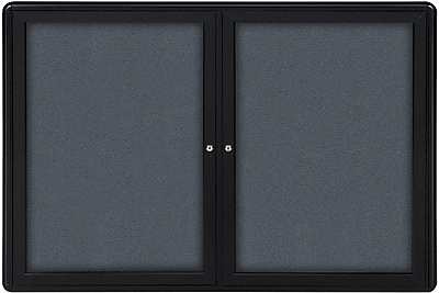 Ghent Ovation Double Door Enclosed Tackboard, Aluminum Frame, 60