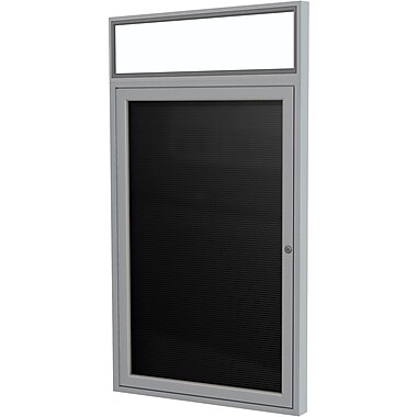 Ghent 1-Door Enclosed Letter Board with Lighted Header, 24
