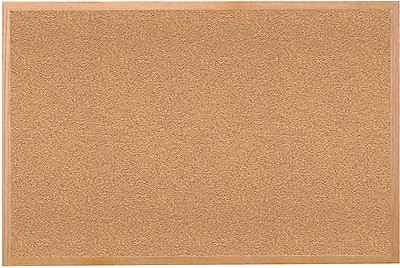 Ghent Traditional Natural Cork Bulletin Board, Wood Frame, 4'W x 3'H