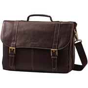 SAMSONITE LEATHER FLAPOVER CASE BROWN