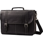 SAMSONITE LEATHER FLAPOVER CASE BLACK