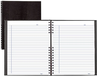 BlueLine® NotePro® Business Notebook, Black Hard Lizard Look Cover, Twin-Wire Binding, 200 Pages / 100 Sheets, 11