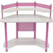"Studio Designs™ 46"" Wood/Steel Study Corner Desk, Pink/Spatter Gray (55122)"