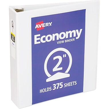 Avery Economy Round-Ring View Binder, White, 375-Sheet Capacity, 2