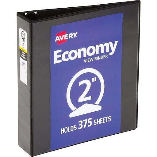 Avery Black Economy 3 Inch Round Ring Reference Binder: Avery Economy 2-Inch Round 3-Ring View Binder, Black (5730