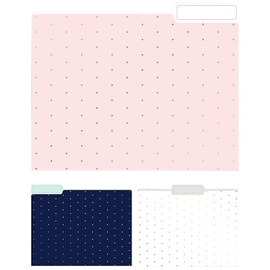 Eccolo Pindot Top Tab File Folders, Letter Size, 3 Tab, 9/Pack