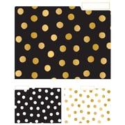 Eccolo Polka Dot Top Tab File Folders, Letter Size, 3 Tab, 9/Pack