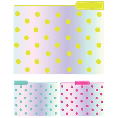 Eccolo Iridescent Dots Top Tab File Folders, Letter Size, 3 Tab, 9/Pack