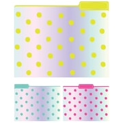Eccolo Iridescent Dots Top Tab File Folders, Letter Size, 3 Tab, 9/Pack (ST617E)