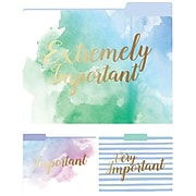 Eccolo Watercolor Collection Fashion Top Tab File Folders with Gold Foil, Letter Size, 3 Tab, 9/Pack