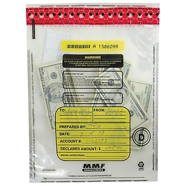 MMF Industries™ FRAUDSTOPPER™ Tamper-Evident Currency Bundle Bags, Clear, 20