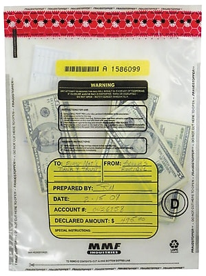 MMF Industries™ Tamper-Evident Deposit Bags, Clear, 15