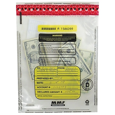 MMF Industries™ FRAUDSTOPPER™ Tamper-Evident Currency Bundle Bags, Clear, 28
