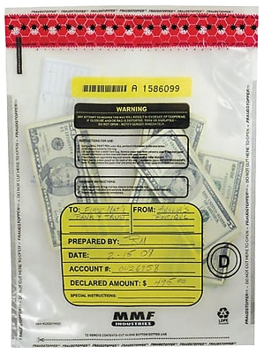 MMF Industries™ Tamper-Evident Deposit Bags, Clear, 12