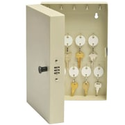 """MMF Industries™ STEELMASTER® 28-Key Hook-Style Cabinet with Combo Lock, Putty, 11 1/2""""H x 7 3/4""""W x 3 1/4""""D"""