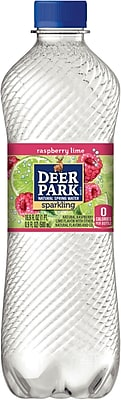 Deer Park® Brand Sparkling Natural Spring Water, Raspberry Lime, 16.9-ounce Plastic Bottle, 24/Case