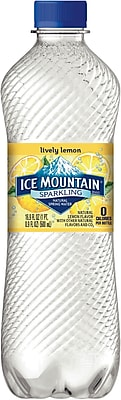 Ice Mountain Lemon Flavored Sparkling Bottled Water, 16.9 oz. Bottles, 24/Case (12349521/121297)