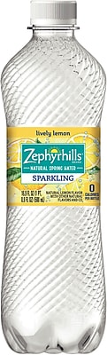 Zephyrhills Lemon Flavored Sparkling Bottled Water, 16.9 oz. Bottles, 24/Case (12349593/121484)