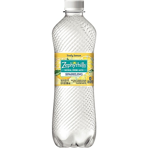 Zephyrhills Lemon Flavored Sparkling Bottled Water, 16 9 oz  Bottles,  24/Case (12349593/121484)