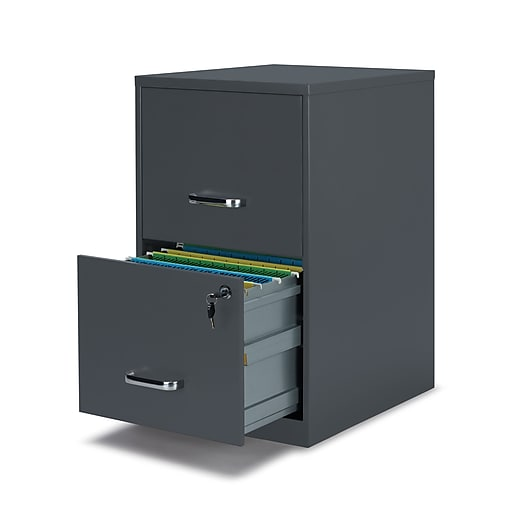 Staples 2-Drawer Vertical File Cabinet, Charcoal, Letter ...