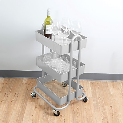 Mind Reader 'Whirl' Heavy Duty 3 Tier Metal Utility Cart, Silver (METCART3T-SIL)