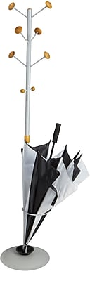Mind Reader Free Standing 8 Hook Coat Rack with Umbrella Holder, Silver, (CAPCR-SIL)