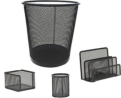 Mind Reader 4 PC Mesh Desk Organizer Set with Trash Can, Black, (4MGDORG-BLK)