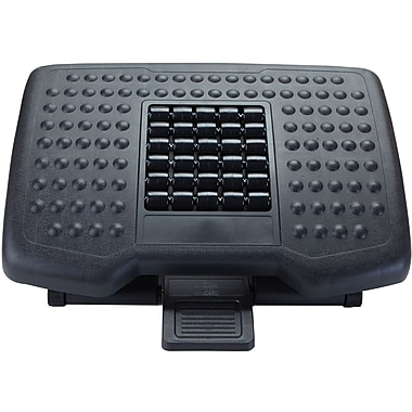 Mind Reader 'Comfy' Adjustable Height Foot Rest with Rollers for Massage, Black, (FTROLL-BLK)
