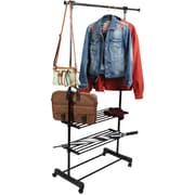 Mind Reader Metal 3 Shelf Adjustable Garment Rack with Wheels, Silver/Black, (GRACK3SH-BLK)