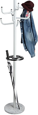 Mind Reader Free Standing 8 Hook Metal Coat and Hat Rack with Umbrella Stand, Silver, (MEGACR-SIL)