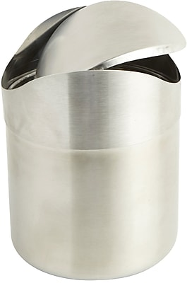 Mind Reader Stainless Steel Desktop Trash Collector, Silver, (GARBASK-SIL)