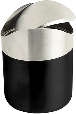 Mind Reader Stainless Steel Desktop Trash Collector, Black (GARBASK-BLK)
