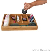 Mind Reader 'Serve' 6 Compartment Bamboo Serving Tray with Handles, Brown (STRAYBM-BRN)