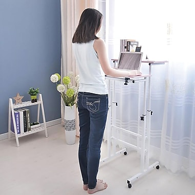 Mind Reader 2 Tier Sit and Stand Desk, White (SDROLL-BLK)