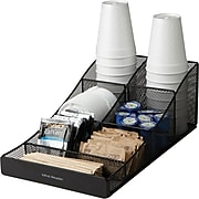 Mind Reader ' Trove' 7 Compartment Tea/Coffee Condiment Organizer, Black Metal Mesh (COMP7MESH-BLK)