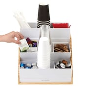 Mind Reader 9 Compartment Condiment Organizer with Acrylic Drawers and Wood Base, White (COMP9WD-WHT)
