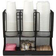 Mind Reader 'Flume' 6 Compartment Coffee Condiment and Cup Organizer, Black Metal Mesh (UPRIGHT6MESH-BL)