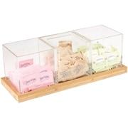 Mind Reader 3 Piece Acrylic Condiment Organizer With Bamboo Base, Clear (CONDO3-CLR)