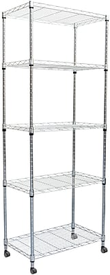Mind Reader 4 Tier Metal Storage Rack With Wheels, Silver (MET4TWHEEL-SIL)