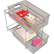 Mind Reader 2 Tier Metal Mesh Storage Baskets, Silver (CABASK2T-SIL)