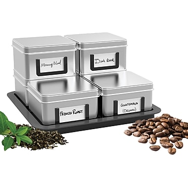Mind Reader 'Stax' Loose Leaf Tea/Coffee Canisters with Tray, 7 Piece Set (CAN6PC-SIL)