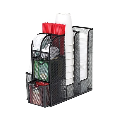 Mind Reader 'Organizer' Coffee Condiment Organizer, Black Metal Mesh (MESHCAD-BLK)